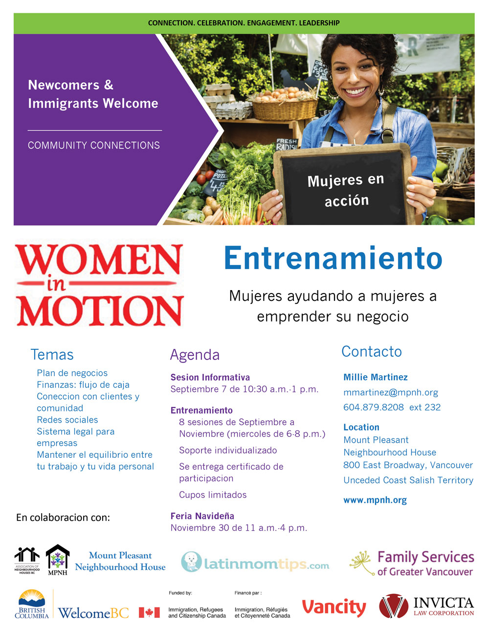 "An image of the poster with program details, featuring a woman working at a market stand, holding a chalkboard that says ""Mujeres en acción"""