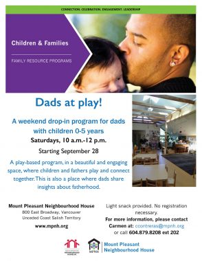 An image of the poster with program details, featuring a photo of a dad kissing his baby's head