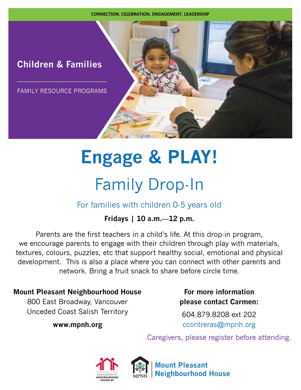 An image of the poster with event details, featuring a photo of a caregiver and child doing a craft together.