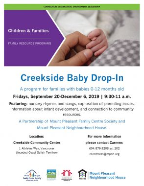 An image of the poster with program details, featuring a photo of an adult holding a baby's hand