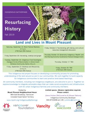 An image of the poster with program details, featuring a photo of frog leaf seeds, white yarrow, clover and mint