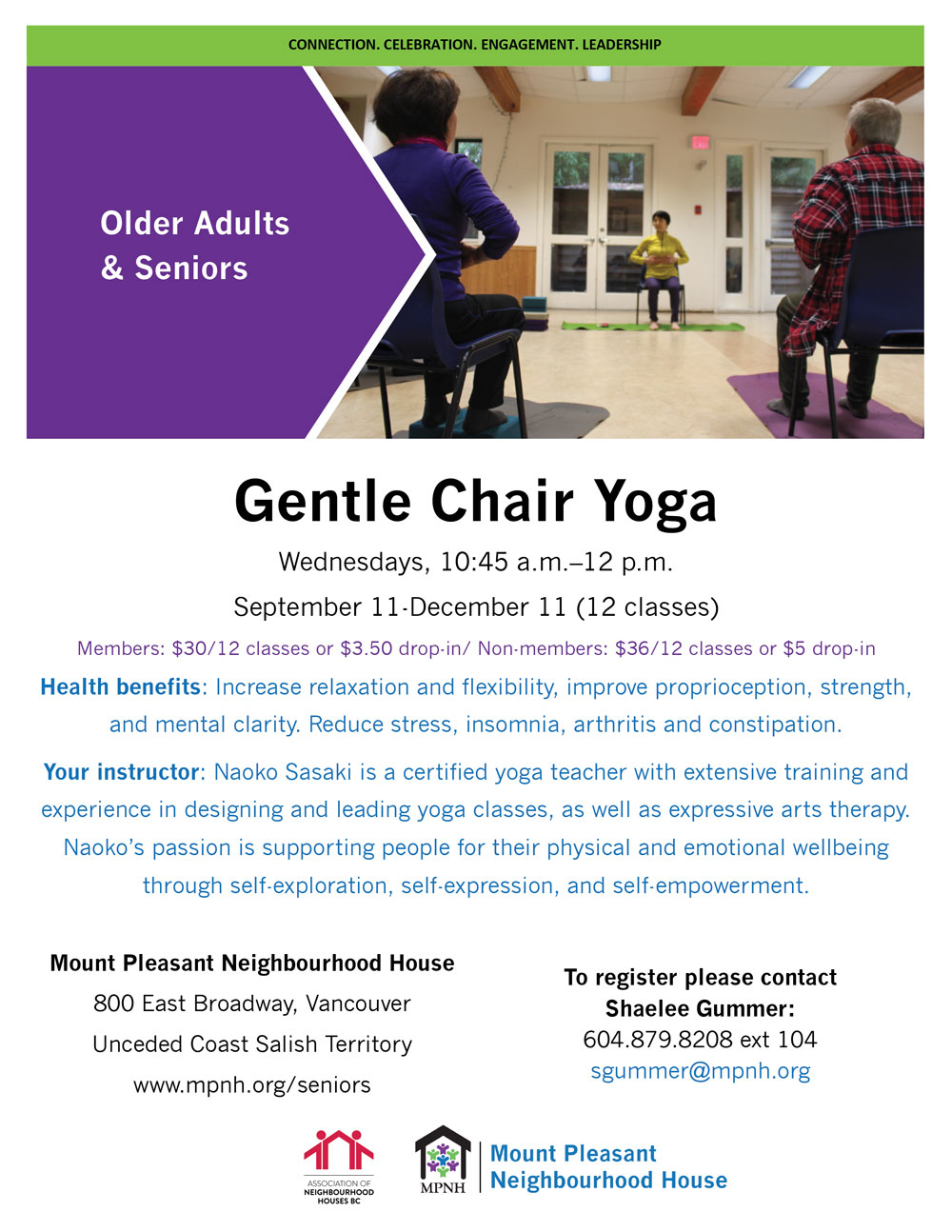 An image of the poster with program details, featuring two seniors and the instructor doing seated yoga exercises