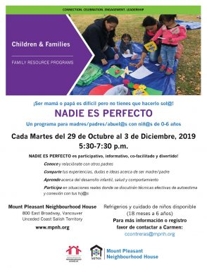 An image of the poster with program details, featuring a photo of two parents and two children doing arts and crafts at the park