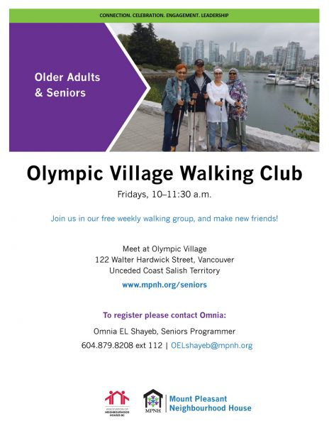 An image of the poster with program details, featuring a photo of four seniors walking together along the False Creek seawall at Olympic Village