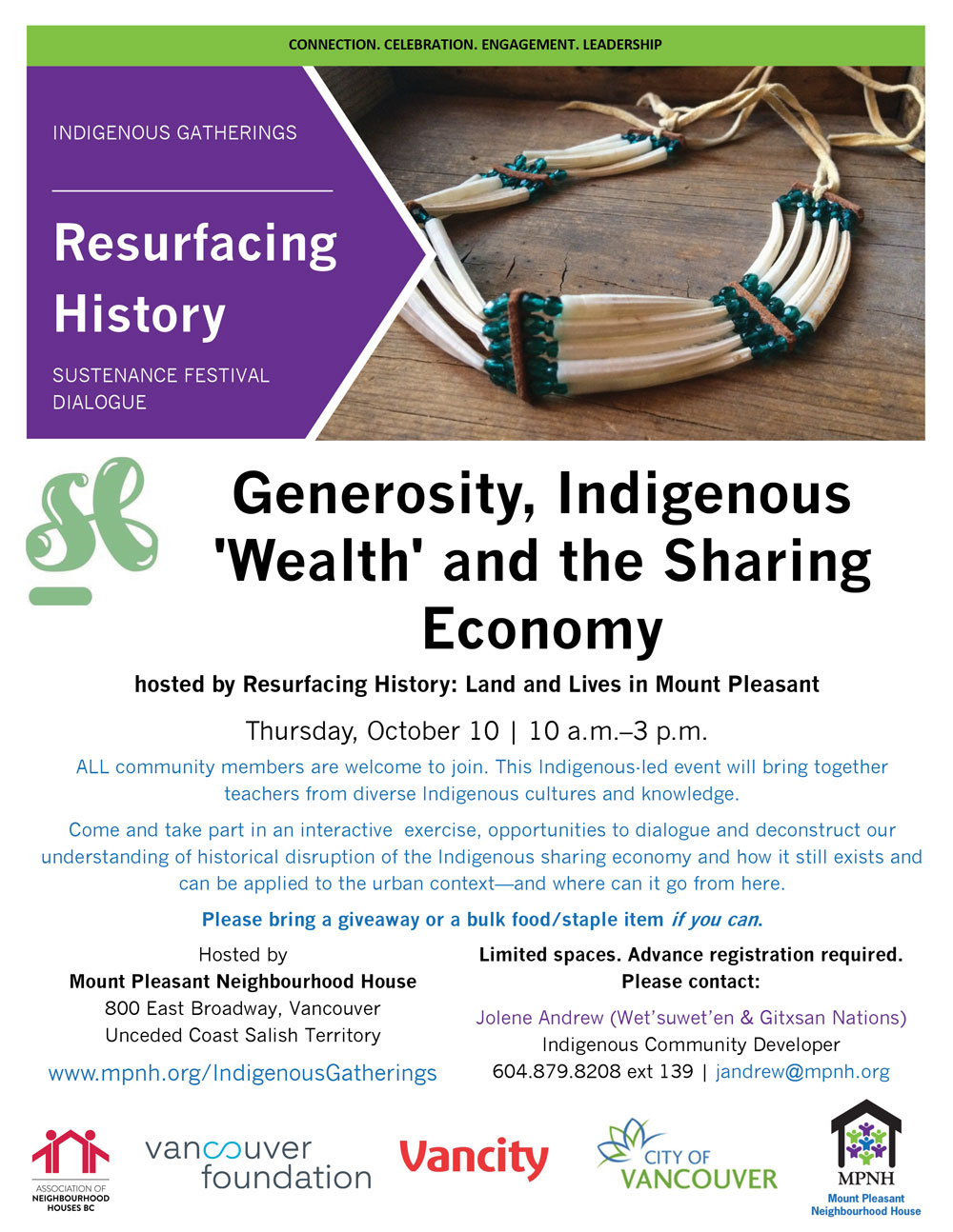 An image of the poster with event details, featuring a powwow regalia necklace made of dentalia shells (a form of Indigenous currency)