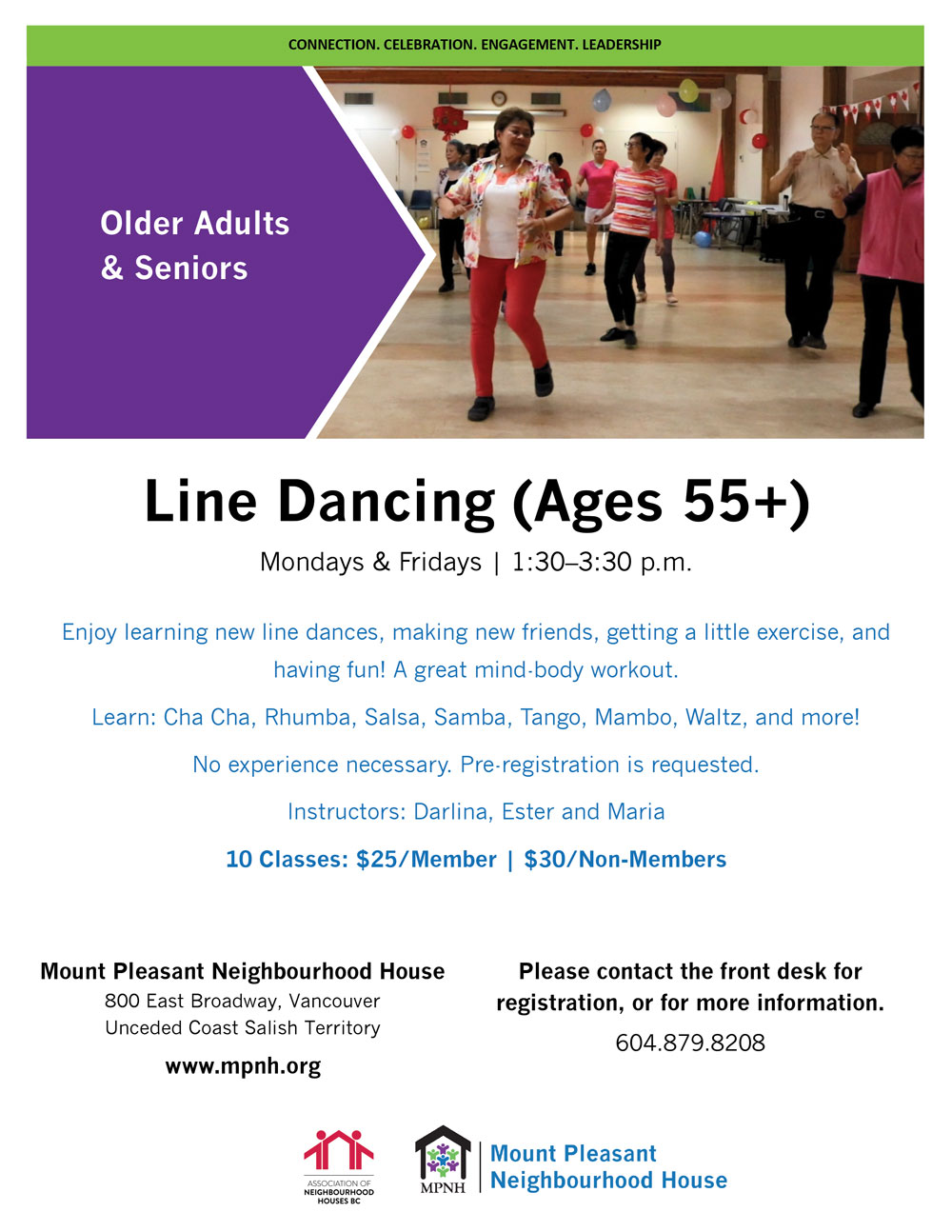 An image of the poster with program details, featuring a photo of seniors line dancing together