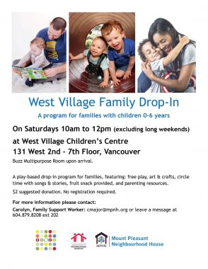 An image of the poster with program details, featuring photos of adults and young children reading and playing together.