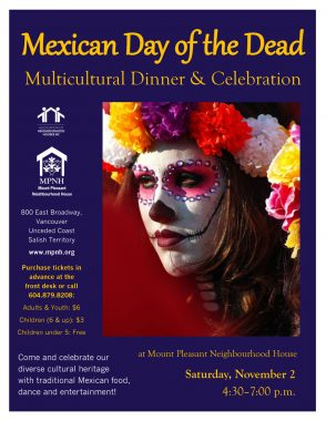 An image of the poster with event details, featuring a photo of a woman's face painted like a skeleton, with jewels around her eyes and brightly coloured flowers in her hair.
