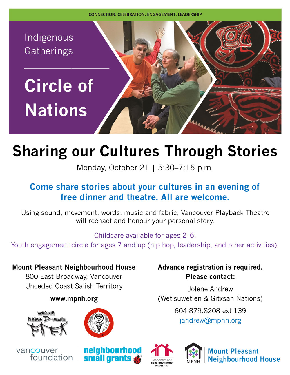 An image of the poster with event details, featuring a photo of people doing a dramatic reenactment, and a photo of Indigenous regalia
