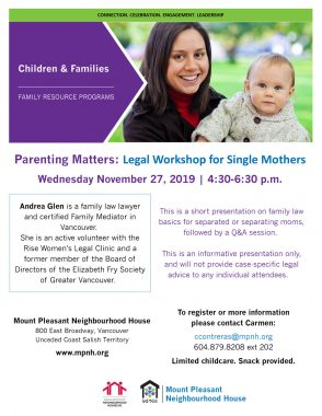 An image of the poster with event details, featuring a photo of a mom with a young child, spending time together outdoors