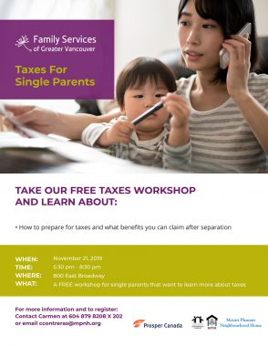 An image of the workshop poster, featuring a parent talking on the phone while looking at paperwork, with her child seated on her lap and playing with a pen