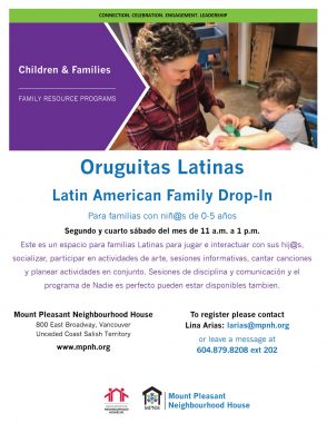 An image of the poster with program details, featuring a photo of a caregiver and child playing together.