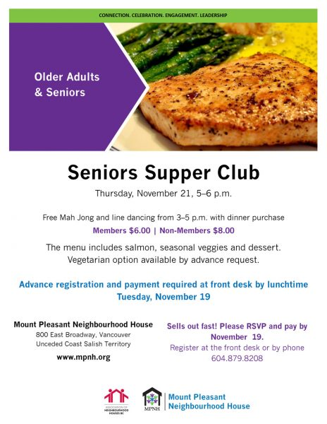 An image of the poster with event details, featuring a photo of grilled wild salmon with asparagus.