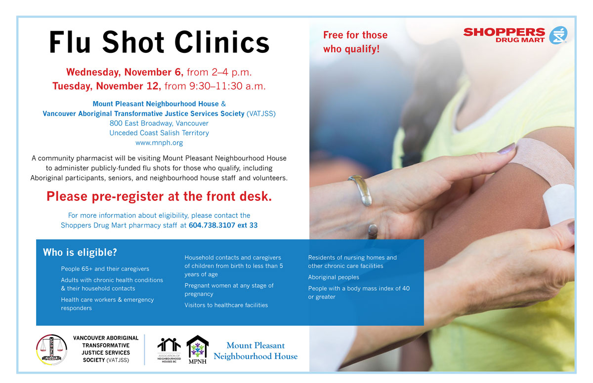An image of the poster with event details, featuring a photo of a pharmacist applying a bandage to a patient's arm.