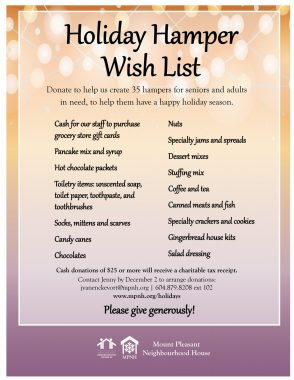 An image of the poster with a list of hamper wish items, featuring a colourful holiday background.