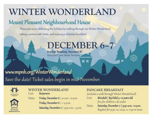 An image of the poster with event details, featuring a colourful winter scene.