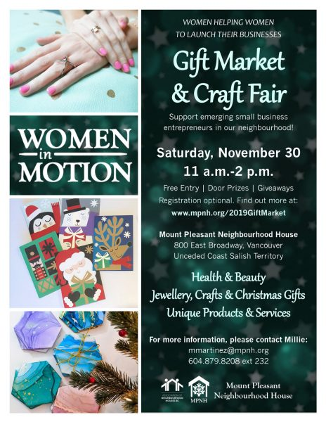 An image of the poster with event details, featuring photos of unique gifts and services.