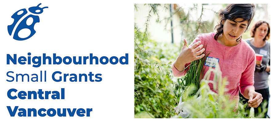 Banner for the Neighbourhood Small Grants 2020 showing a young woman growing plants for her community