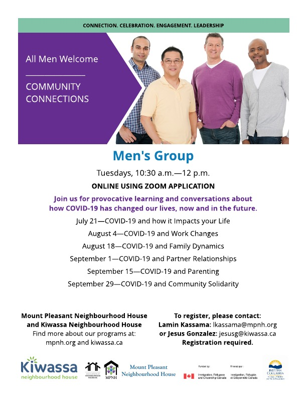 Poster for the Men's Group showing diverse group of happy men