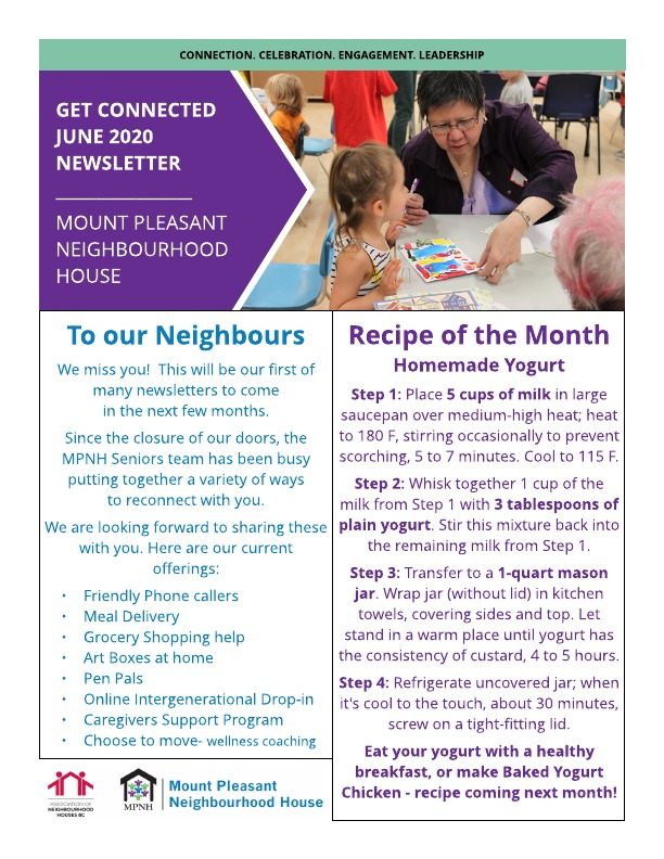 Get Connected Newsletter for Seniors June 2020 page 1